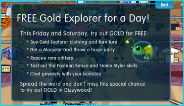 Free Gold Explorer Day on Dizzywood